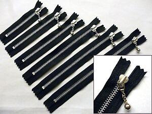 "YKK Zipper 7/""//18cm Ball /& Chain Puller,Closed End Zip Black Nylon"