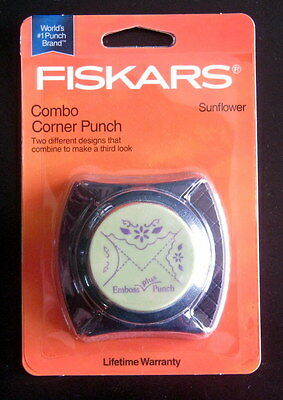 Fiskars SUNFLOWER Combo Corner Paper Punch - Cuts and Embosses! Scrapbook  NIP