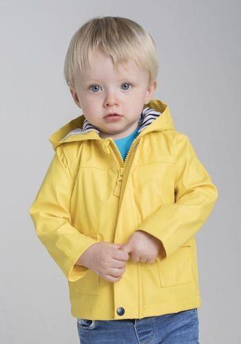 Bébé Enfants pluie veste avec capuche Doublure 0,5-4 ans NAVY JAUNE Larkwood lw035