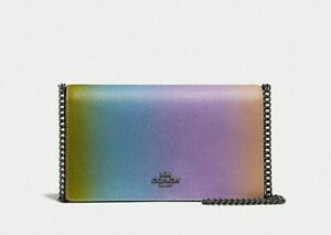 Coach Callie Blossom Pink Leather Foldover Chain Clutch