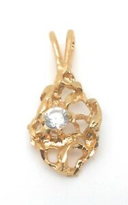 Nugget-Pendant-Gold-Plated-Metal-Charm-Cubic-Zirconia-Stone-For-Necklace-Chain