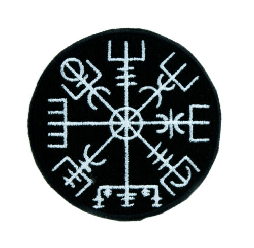 Vegvisir Viking Compass Symbol Patch Iron on Applique Alternative Clothing Norse