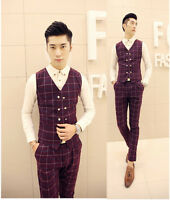 Men's Double Breasted Checked Plaid Slim Fit Vest Casual Office Waistcoat M-XXL