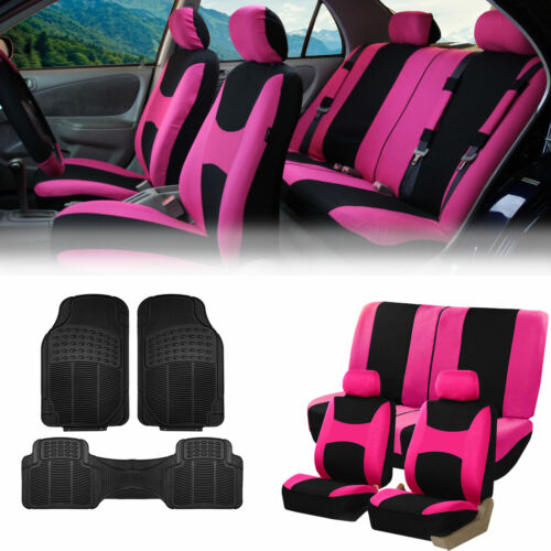 Pink Black Car Seat Covers Full Set for Auto w//2 Headrests Rubber Floor Mats