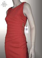 IVANKA TRUMP Women Dress Sze 8 PERSIMMON Knee KNIT Sleeveless PLEATED Dressy LBC