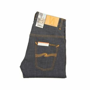 Nudie-Jeans-Thin-Finn-Dry-Twill-Dunkelblau-111085-Slim-Fit-Denim-Neu