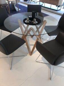 Bekannt Esstisch, rund, Mika Tischbeine von h+h furniture + Glasplatte | eBay YD44