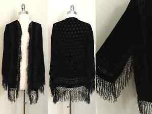 Vintage Black VELVET BURNOUT Floral FRINGE Witchy Boho Jacket Cardigan Top OS