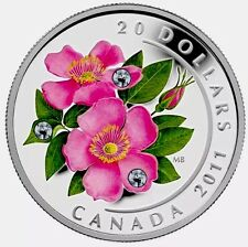 2011  $20 Canada Wild Rose .999 Fine Silver Coin With swarovski crystal