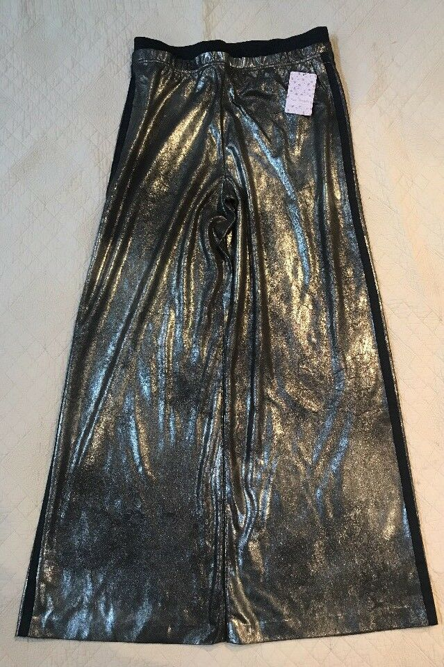 FREE PEOPLE gold METALLIC WIDE LEG DRESS PANTS VEGAN LEATHER Size Small