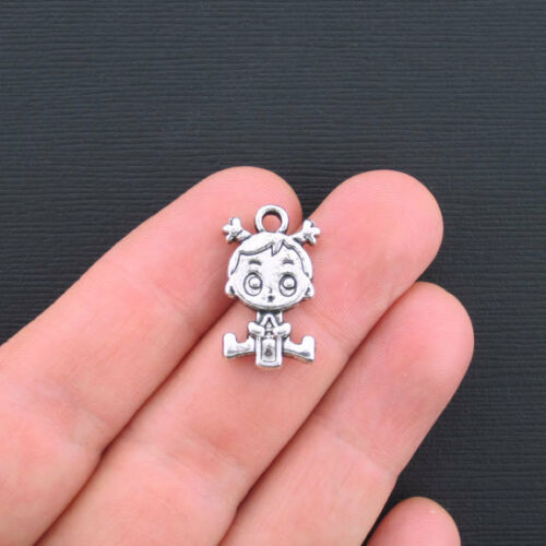 SC3186 BULK 30 Baby Girl Charms Antique Silver Tone 2 Sided