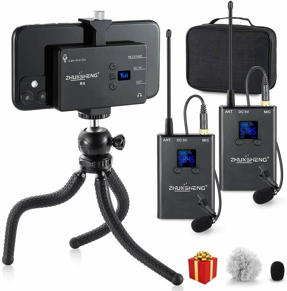 Dual Lavalier Microphone Wireless iPhone Android Smartphone Camera-UHF Youtube