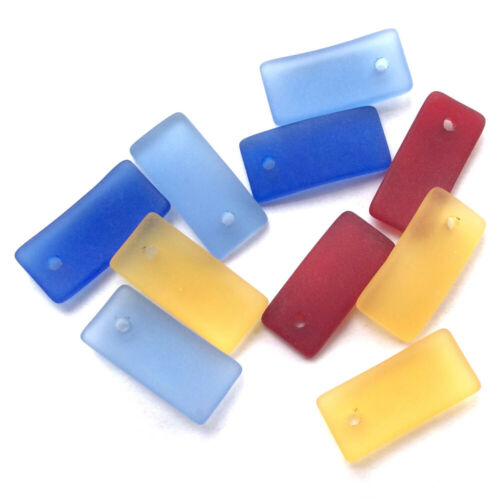 SALE Destash Mixed 22x10mm Curved Rectangle Ocean Beach Sea Glass Frosted Charms