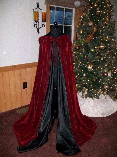 Renaissance Medieval Hooded Cloak VELVET Cape Vampire Wicca Witchcraft Handmade