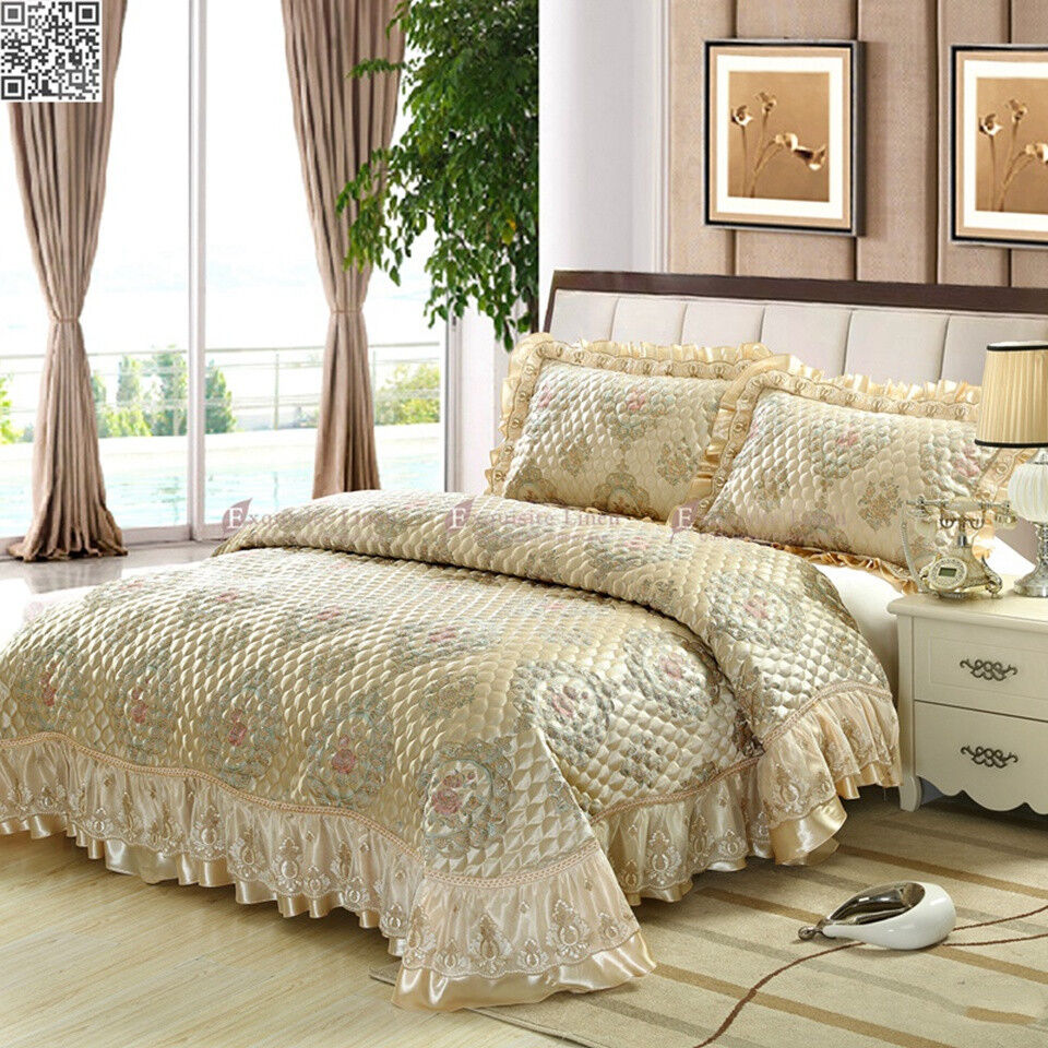 A queen-size bedspread will range in size. A queen-size bedspread will range in size from 88 inches by inches to 99 inches by inches. This size range is designed to fit a standard queen-size mattress which measures 60 inches by 80 inches.