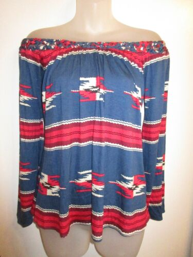 Clothing Party Brand Top spalla Tunica intrecciato Sky Tribal Red Blue a Nwt 175 Off FxHOxfwqd