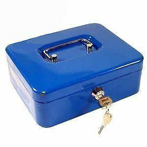 "6/"" inch Small Key Lock Petty Cash Piggy Bank Money Box Safe Pink Lockable Blue"
