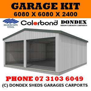 DONDEX Double Garage Shed Kit 6.08 x 6.08 x 2.4 Gable Zinc Roof ...