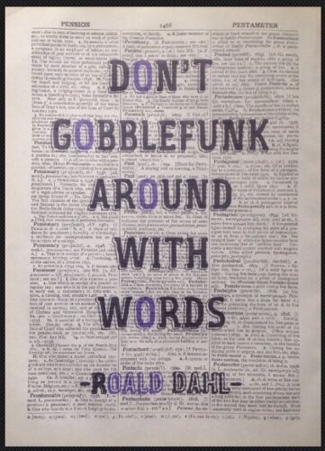 Roald Dahl BFG Quote Print Vintage Dictionary Page Wall Art Picture Quirky Funny