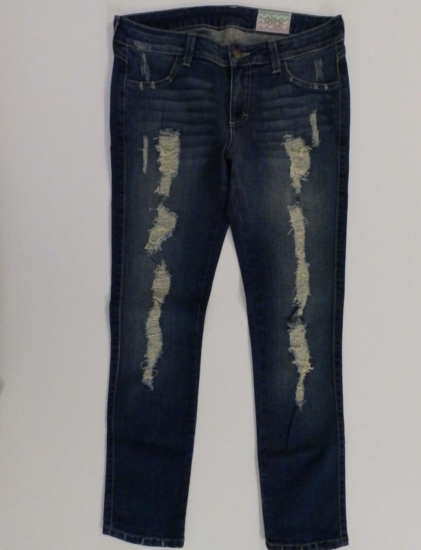SIWY Medium Wash  Hannah  Distressed Ripped Slim Cut Jeans, Sz 29, Ins 27