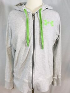 Under-Armour-Storm-Womens-Full-Zip-Light-Gray-Hoodie-LARGE-Green-Logo-SemiFitted