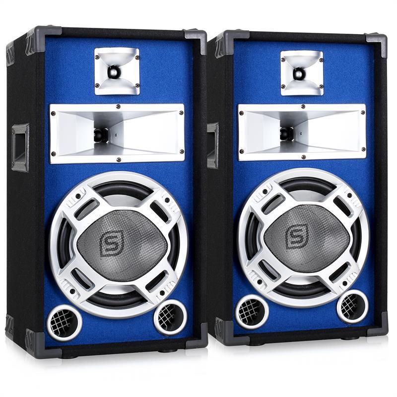 LOT 2 ENCEINTES PA 25CM EFFET LED Blau BASSREFLEX SONO DISCO DJ WOOFER 10  800W