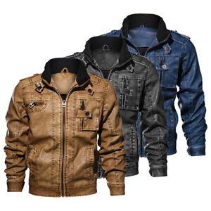 fe8983c48 Details about Men's Slim fit Biker Jacket Winter Zipper Thickness  Motorcycle Tops Coat #@