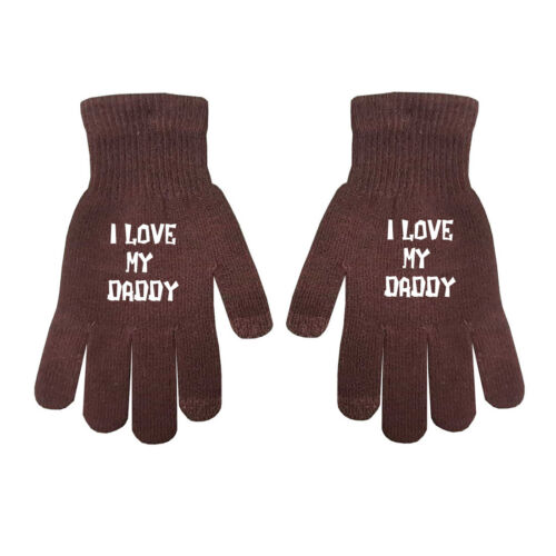 Kids I love Daddy Teenagers Adults Unisex Boys Girls Winter Touch Screen Gloves