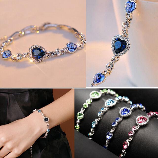 New Jewelry Cute Ocean Crystal Rhinestone Heart Charm Chain Bracelet Bangle