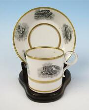 c.1810 Barr, Flight & Barr Porcelain Cup & Saucer Bat Print Antique Worcester #1