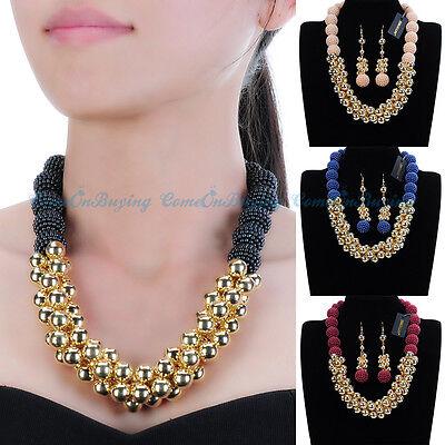 Fashion Jewelry Resin Pearl Choker Statement Bib Pendant Necklace Earrings Set