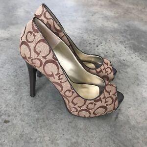 Guess-Womens-Logo-Heels-R-7-M-7M-Adison-Open-Toe-Stilettos-Pumps-Sandals-Shoes