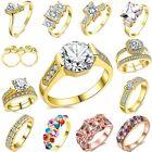 Brilliant Cut Round Crystal Diamond Women 18K Gold Filled Wedding Sets Of Ring