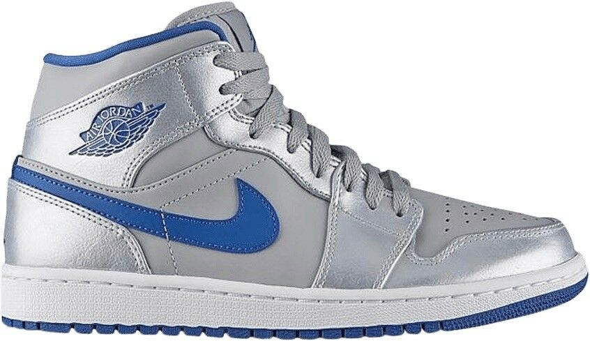 Nike Air Jordan 1 Mid Wolf Grey Sport bluee Men Size 8.5 shoes 554724 025