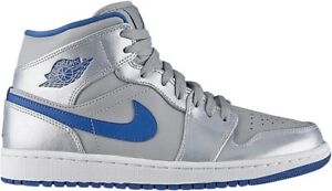 0faf47263633c3 Nike Air Jordan 1 Mid Wolf Grey Sport Blue Men Size 8.5 Shoes 554724 ...