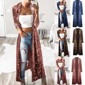 Women-039-s-Full-Length-Maxi-Cardigan-Trench-Open-Front-Sweater-Long-Sleeve-Coat-Top
