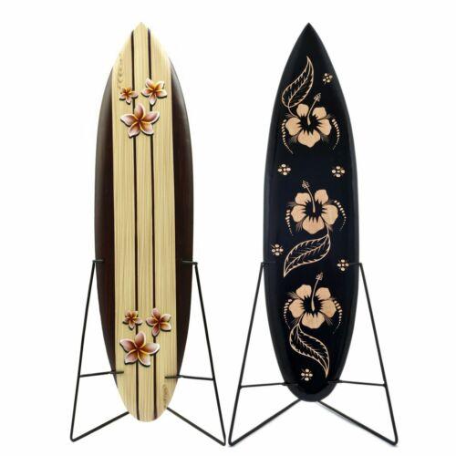 LESTARIE Deko Surfboard 80cm Surfbrett Holz Frangipani Hibiskus Surfboards surf