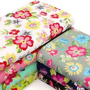 Cotton-Poplin-Fabric-FQ-Watercolour-Floral-Retro-Print-Quilting-Patchwork-VK102