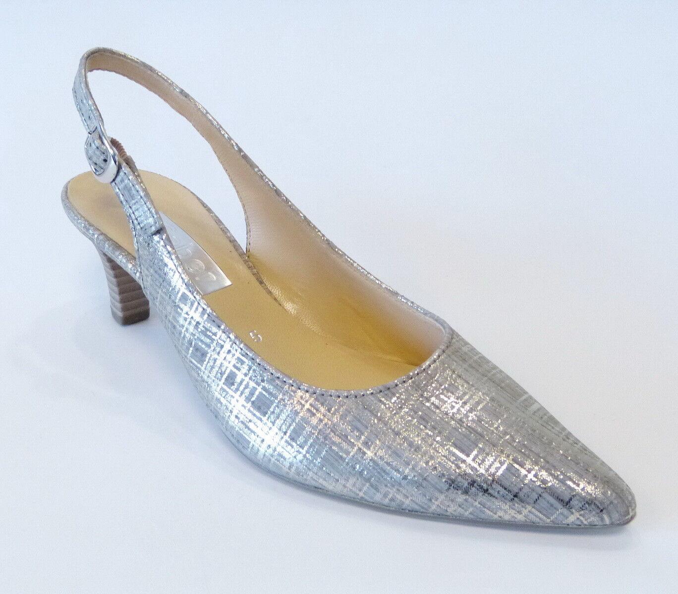 Gabor Absatz Sling Pumps Sandale 550 31 argento silber Schnalle Nubuk Leder