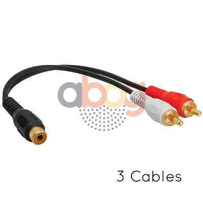 3pcs Audio Y Adapter 2 RCA Plugs to 1 RCA Jack Extension Splitter Lot Pack