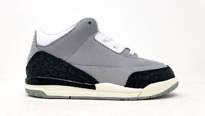 832033-006 Nike Toddler Jordan 3 Retro TD Lt Smoke Grey//Chlorophyll