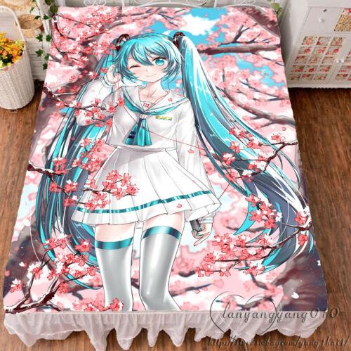 VOCALOID Hatsune Miku Cosplay Flannel Blanket Otaku Bed Sheet Christmas Gift