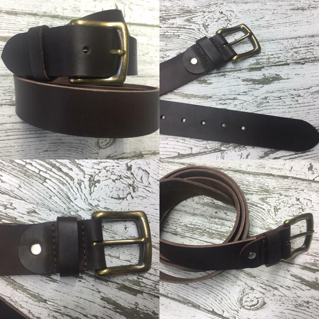 Ledergürtel Braun -3- extra Groß bis 200 cm, 4 cm breit echt Leder, Handmade
