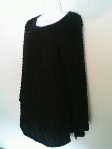Pappell Boutique Women Small Black Beaded Silk Long Sleeve -S Blouse Poly Lined