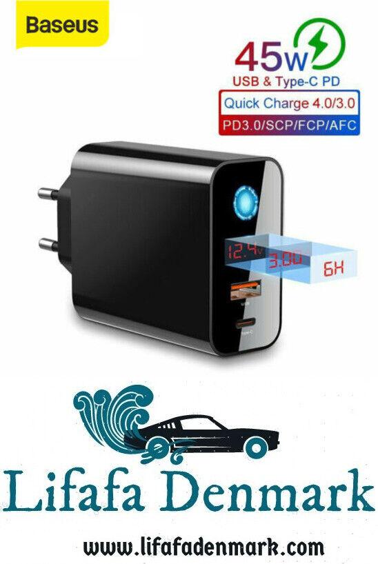 BASEUS 45W LCD-SKÆRM SMART POWER-OFF QC4.0 HURT...