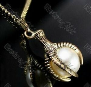 VINTAGE-BRASS-eagle-DRAGON-CLAW-big-PEARL-PENDANT-very-long-40-CHAIN-necklace