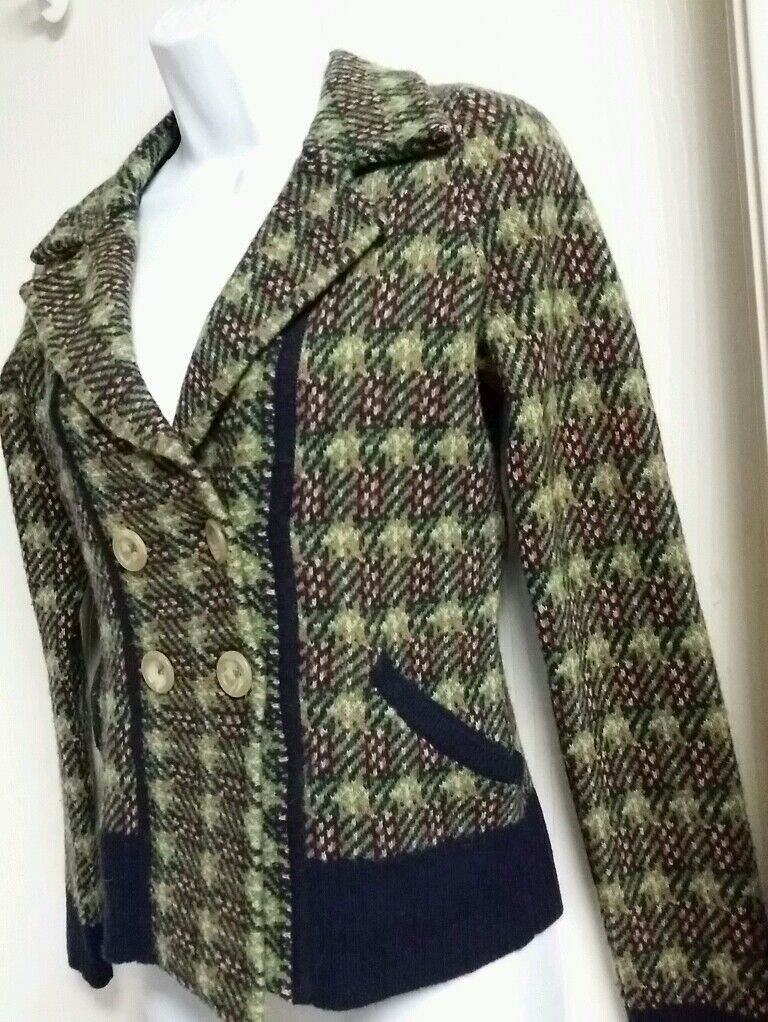 SPARROW Anthropologie Green Plaid Cardigan Sweater 100% Lambswool Size XS