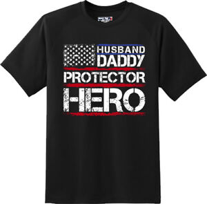 Husband-Daddy-Protector-Hero-Dad-Wife-son-Gift-Cool-T-Shirt-New-Graphic-Tee