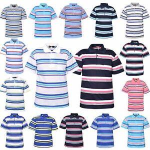 Mens-T-Shirts-Yarn-Dyed-Strip-Pocket-Polo-Shirt-Top-Multi-Colour-Size-M-3XL