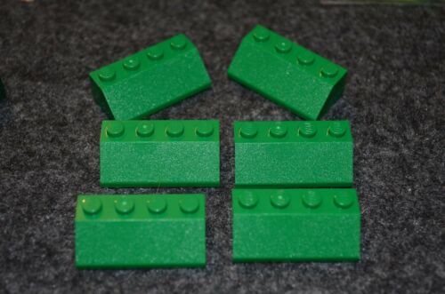 6 4x2 Green Slope Roof Bricks ~ Lego  ~ NEW ~ Castle